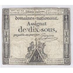 ASSIGNAT DE 10 SOUS - SERIE 1057 - 24/10/1792 - DOMAINES NATIONAUX - TB/TTB