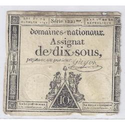 ASSIGNAT DE 10 SOUS - SERIE 1221 - 24/10/1792 - DOMAINES NATIONAUX - TB/TTB