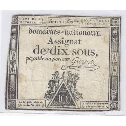 ASSIGNAT DE 10 SOUS - SERIE 1232 - 24/10/1792 - DOMAINES NATIONAUX - TB/TTB