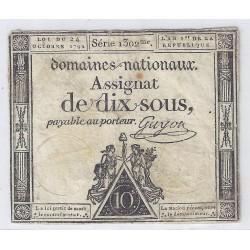 ASSIGNAT DE 10 SOUS - SERIE 1302 - 24/10/1792 - DOMAINES NATIONAUX - TB/TTB