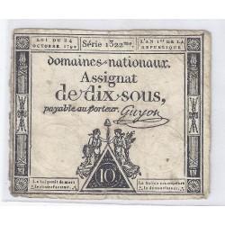 ASSIGNAT DE 10 SOUS - SERIE 1322 - 24/10/1792 - DOMAINES NATIONAUX - TB/TTB