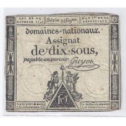 ASSIGNAT DE 10 SOUS - SERIE 1469 - 24/10/1792 - DOMAINES NATIONAUX - TB/TTB