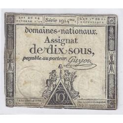 ASSIGNAT DE 10 SOUS - SERIE 1914 - 24/10/1792 - DOMAINES NATIONAUX - TB/TTB