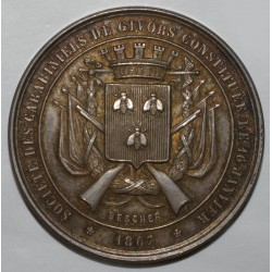 MEDAL - SHOOTING - SOCIETY OF CARABINIERI OF GIVORS - CONTEST 1878
