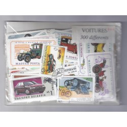 A BATCH OF 300 STAMPS OF CARS