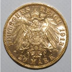 GERMAN STATES - HAMBURG - KM 618 - 20 MARK 1913 J - GOLD - XF / UNC