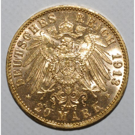 ÉTATS ALLEMAND - HAMBOURG - KM 618 - 20 MARK 1913 J - OR - SPL