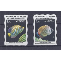 MONACO - 1985 - 2 STAMPS - FISHES