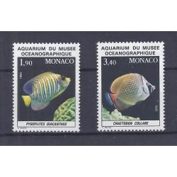 MONACO - 1985 - 2 TIMBRES - AQUARIUM DU MUSEE OCEANOGRAPHIQUE - POISSONS