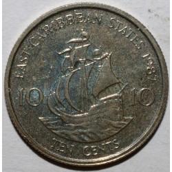 EAST CARIBBEAN STATES - 10 CENTS 1987 - ELISABETH II - KM 13