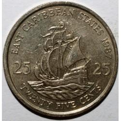 "EAST CARIBBEAN STATES - 25 CENTS 1987 - ELISABETH II - BOAT ""THE GOLDEN HIND"" - UNC - KM 14"
