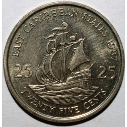EAST CARIBBEAN STATES - KM 14 - 25 CENTS 1987 - ELISABETH II - BOAT 'THE GOLDEN HIND'