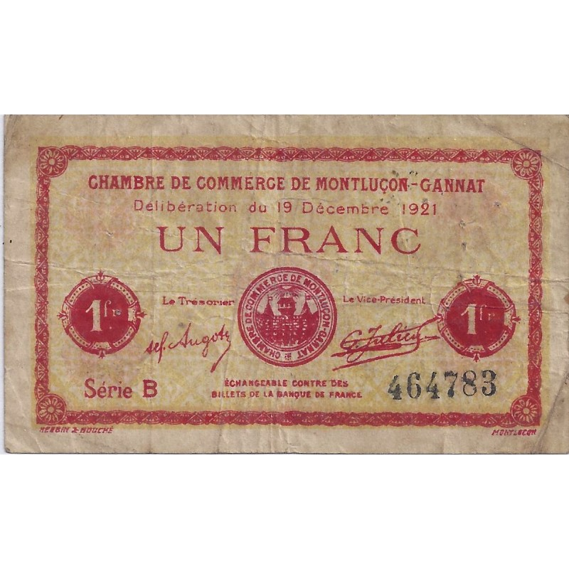 03 montlucon gannat chambre de commerce 1 franc 1921 - Chambre de commerce francaise a l etranger ...