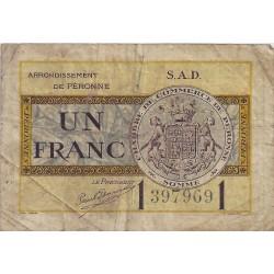 80 - PERONNE - CHAMBRE DE COMMERCE - 1 FRANC 1921 - TRES BEAU