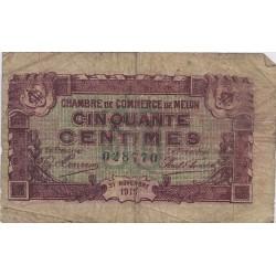 77 - MELUN - CHAMBRES DE COMMERCE - 50 CENTIMES 1919 - TRES BEAU