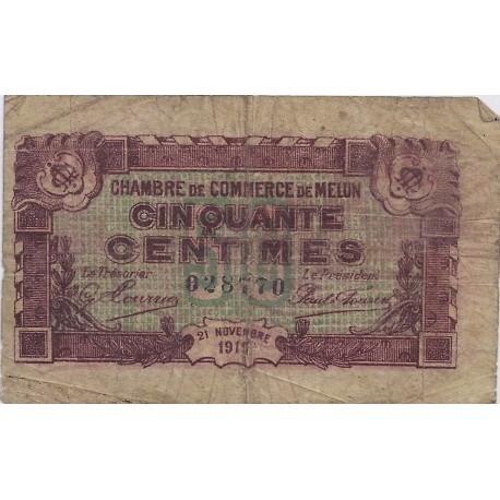 77 melun chambres de commerce 50 centimes 1919 tres beau - Chambre des notaires de melun ...
