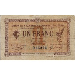 81 - TARN - UNION DES CHAMBRES DE COMMERCE - 1 FRANC 1914 - TRES TRES BEAU