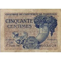33000 BORDEAUX - CHAMBRE DE COMMERCE - 50 CENTIMES 1921 - TRES TRES BEAU