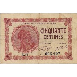75 - PARIS - CHAMBRE DE COMMERCE - 50 CENTIMES 1920 - TRES TRES BEAU