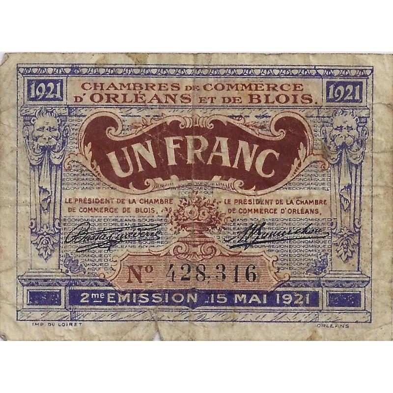 45 41 orleans blois chambre de commerce 1 franc 1921 tres beau. Black Bedroom Furniture Sets. Home Design Ideas