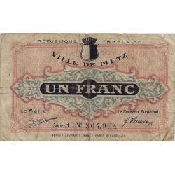 57 - METZ - CHAMBRE DE COMMERCE - 1 FRANC 1918 - TRES BEAU