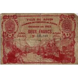 76 - ROUEN - CHAMBRE DE COMMERCE - 2 FRANC 1922 - TRES BEAU