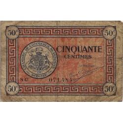 80 - PERONNE - CHAMBRE DE COMMERCE - 50 CENTIMES - 27/07/1920 - TRES BEAU