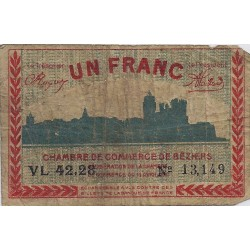 34 - BEZIERS - CHAMBRE DE COMMERCE - 1 FRANC 1920 - TRES BEAU