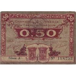 14 - CAEN ET HONFLEUR - CHAMBRES DE COMMERCE - 50 CENTIMES 1920 - TRES TRES BEAU