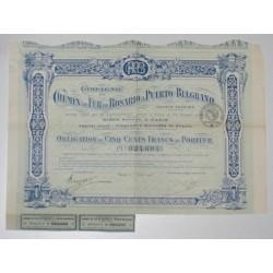 PUERTO-BELGRANO 1918 - ARGENTINE - OBLIGATION DE 500 FRANCS AU PORTEUR - SUPERBE