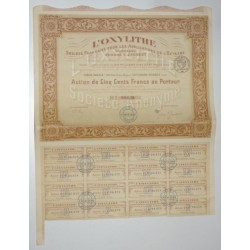 92 - LEVALLOIS-PERRET 1918 - L'OXYLITHE - ACTION DE 500 FRANCS AU PORTEUR
