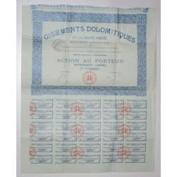 09 - HAUTE ARIEGE - GISEMENTS DOMOLITIQUES - ACTION DE 100 FRANCS AU PORTEUR