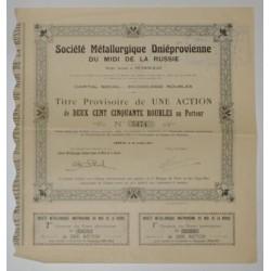 GENEVE 1917 - TITRE PROVISOIRE DE UNE ACTION DE 250 ROUBLES - TTB/SUP