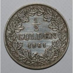 ALLEMAGNE - BADE - KM 243 - 1/2 GULDEN 1861 - TB / TTB