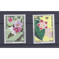 CAMEROON - 2 STAMPS - 40 FRANCS + 45 FRANCS - FLOWERS