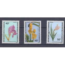 CAMEROON - 3 STAMPS - 40, 45 ET 50 FRANCS - FLOWERS
