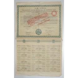 BUDAPEST 1925 - OBLIGATION DE 6 % DU ROYAUME DE HONGRIE DE 100 FRANCS - TTB+