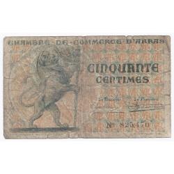 62 - ARRAS - CHAMBRE DE COMMERCE - 50 CENTIMES 1922 - BEAU