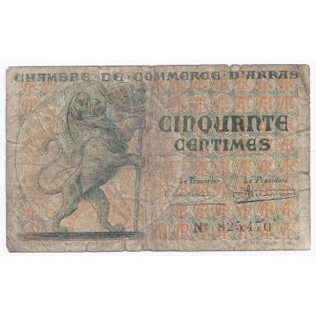 62 arras chambre de commerce 50 centimes 1922 beau - Chambre des commerces arras ...