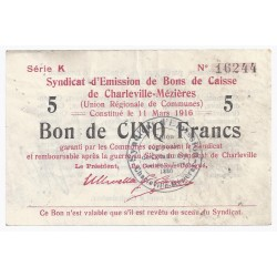 COUNTY 08 - CHARLEVILLE MEZIERES - voucher issuing syndicate - 5 FRANCS 1916 - VF