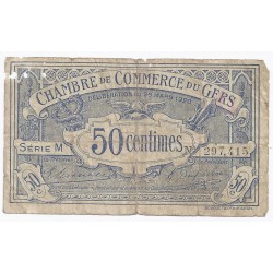 COUNTY 32 - GERS - CHAMBER OF COMMERCE - 50 CENTIMES 1920 - VG