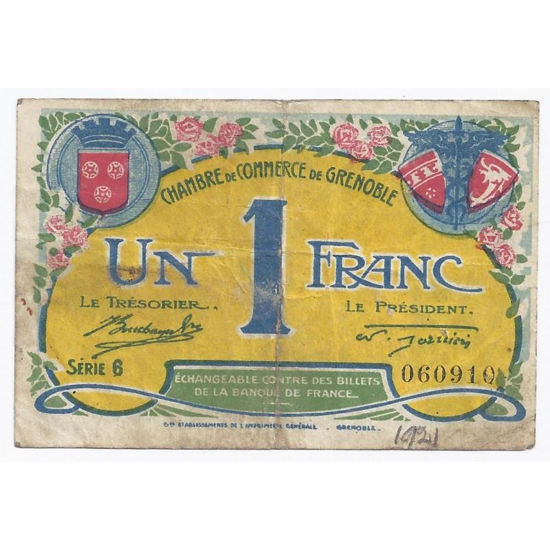 38 grenoble chambre de commerce 1 franc 1922 tres beau