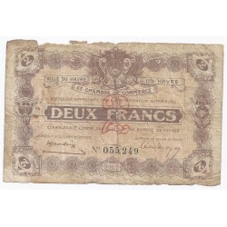 COUNTY 76 - LE HAVRE - CHAMBER OF COMMERCE - 2 FRANCS 1923 - VG