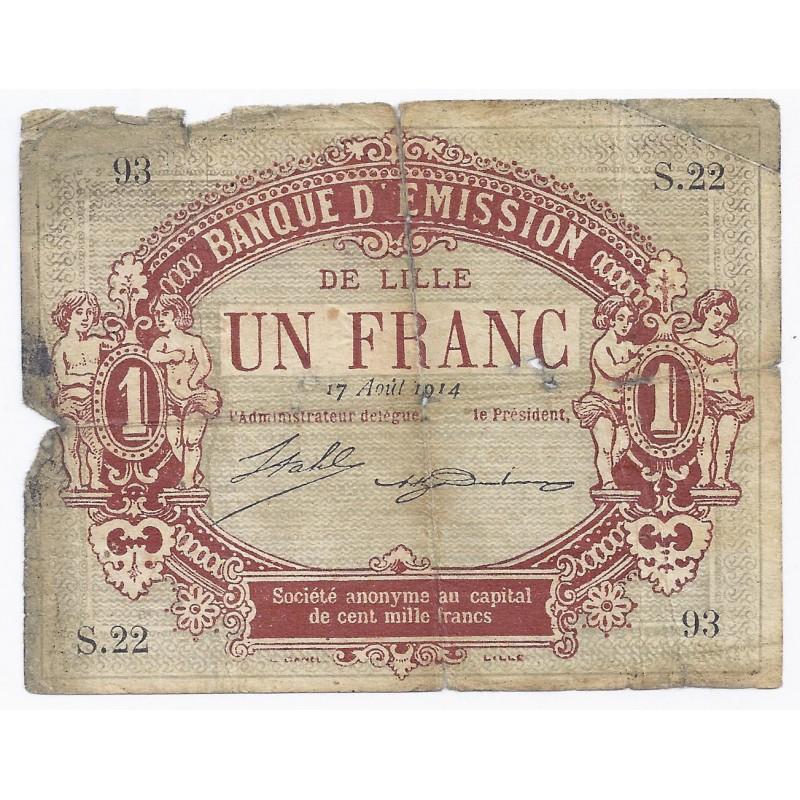 59 lille chambre de commerce 1 franc 1914 beau for Chambre de commerce de lille