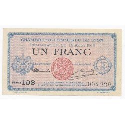 COUNTY 69 - LYON - CHAMBER OF COMMERCE - 1 FRANC 1914 - UNC