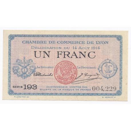 69 Lyon Chambre De Commerce 1 Franc 1914 Neuf