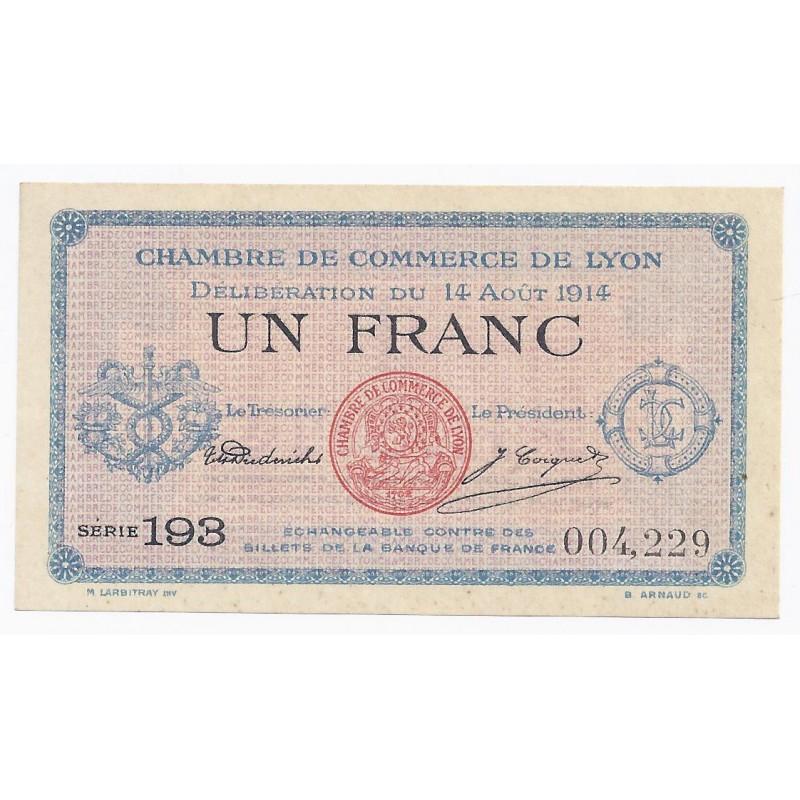 69 lyon chambre de commerce 1 franc 1914 neuf for Chambre de commerce lyon