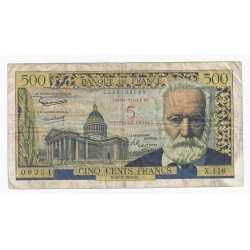 FRANCE - PICK 137 - OVERPRINT 5 NF ON 500 FRANCS VICTOR HUGO - 12/02/1959 - F