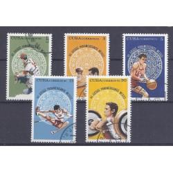 CUBA - 5 TIMBRES - 1, 3, 5, 13, 30 CENTAVOS - 1975 - JEUX PANAMÉRICAINS