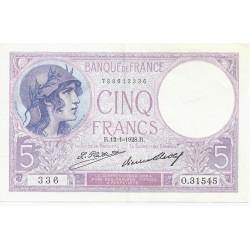 FAY 03/12 - 5 FRANCS VIOLET - 12/01/1928 - SUPERBE - PICK 72